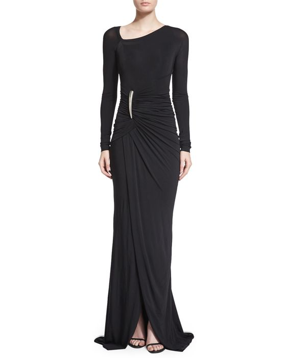 Long-Sleeve Ruched Gown W/Elemental Buckle, Black, Women's, Size: MEDIUM - Donna Karan