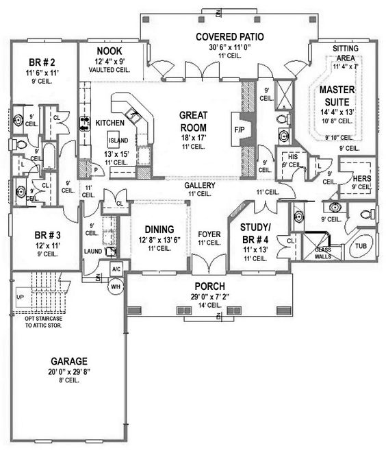 First Floor Plan of House Plan 53458