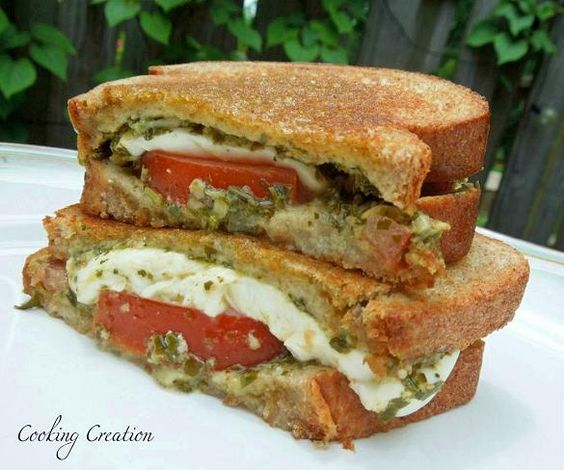 Caprese Grilled Cheese Sandwich with Basil Pesto