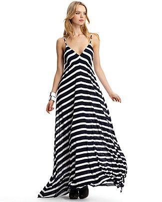 black and white striped maxi