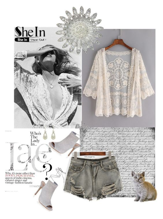 """Lace Cardigan"" by prettysexiness ❤ liked on Polyvore featuring Mlle Mademoiselle and New Look"