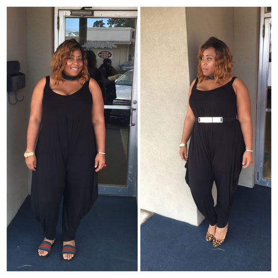 Two looks one jumpsuit how will you rock yours mkt.com/vintage-Barbie #plussize #jumpsuit #curvy