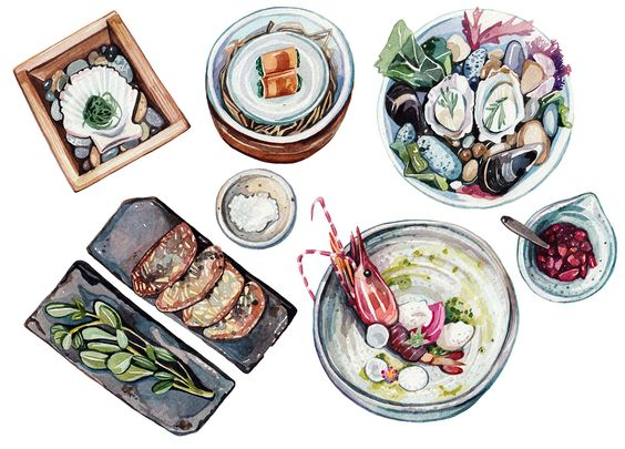 Illustrations for an editorial commission for Acquired Taste and San Pellegrino.