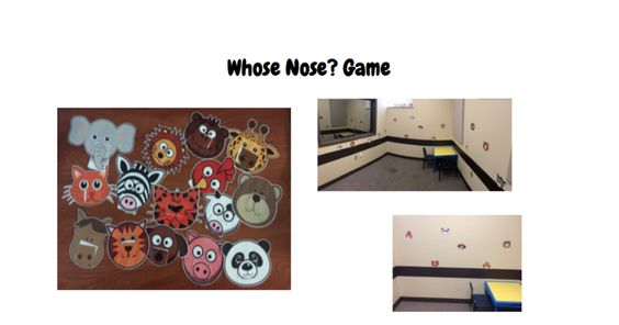 Whose Nose? Game! 1. Tape the faces without noses to the wall. 2.Put the vocabulary cards and noses in 2 separate bags. 3. After they say the word, have them match an animals nose to their face! e/n/joy :)