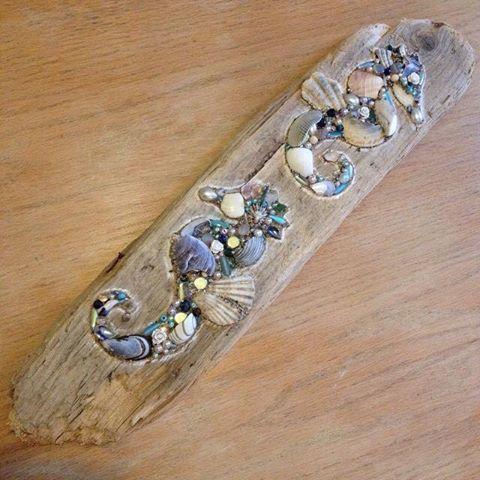 Driftwood Seahorse Wall Hanging using shells and pearls, Handmade in Cornwall £45.00
