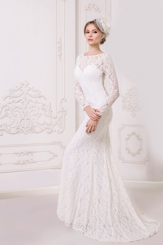 Long Sleeve Long Lace Maternity Wedding Dress