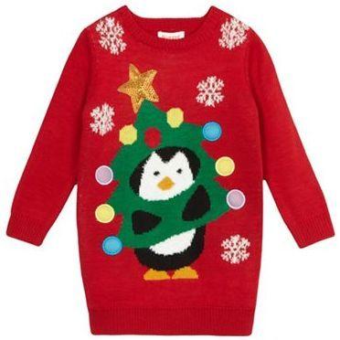 bluezoo Girls' red Christmas tree penguin jumper