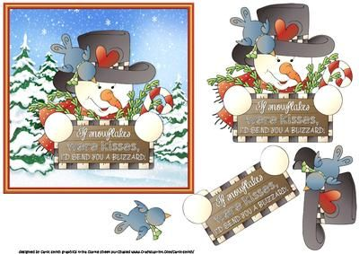 Snowman Christmas kisses on Craftsuprint - Add To Basket!