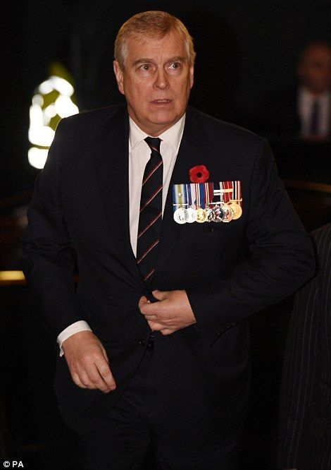 The Duke of York is seen arriving...