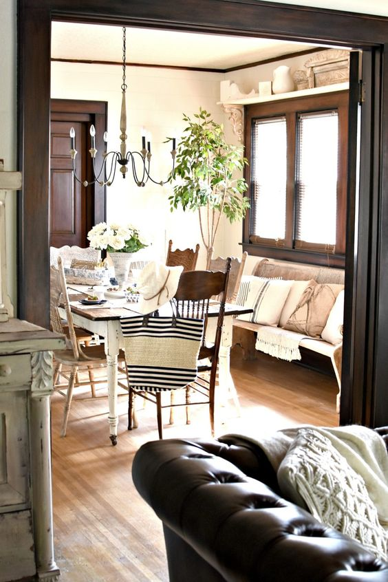 Gorgeous historic home in Kentucky with original woodwork dark stained woodwork #generalfinishesjavagelstain #generalfinishes My Old Kentucky Home Summer Home Tour Farmhouse Dining Room