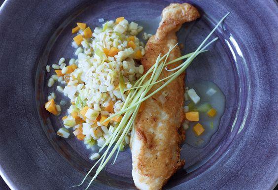 Zartweizen-Risotto mit Fischpiccata