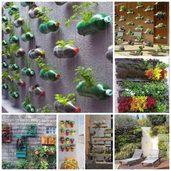 Jardines verticales diy con palets botellas latas - Jardines verticales con palets ...