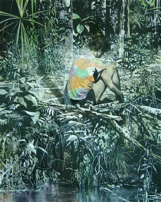 red-lipstick:  Michael Rampa (Swiss, b. 1977, Château-d'Oex, Switzerland, based Lausanne) - Makom, 2011  Paintings: Oil on Canvas