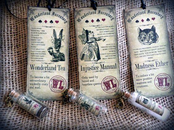Alice in Wonderland-Flasche-Anhänger mit passenden Geschenk-Tag