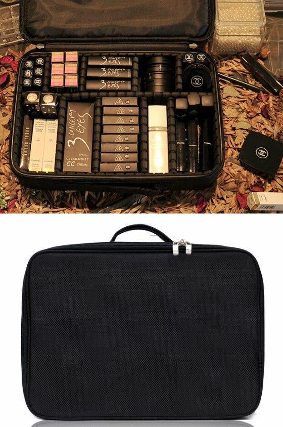 Joligrace Trousse de maquillage pour maquillage avec compartiment r/églable en tissu Oxford