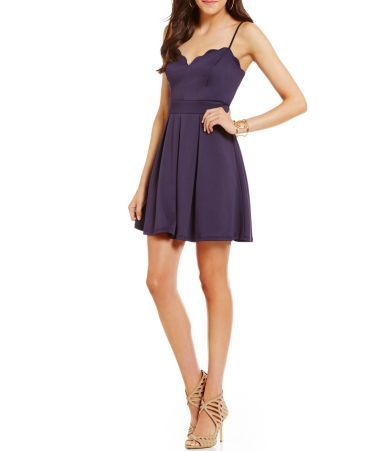 Shop for B. Darlin Scalloped V-Neck Skater Dress at Dillards.com. Visit Dillards.com to find clothing, accessories, shoes, cosmetics & more. The Style of Your Life.