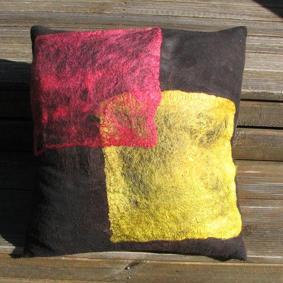 Felted cushion, 40cm square - merino wool overlaid with silk hankies.