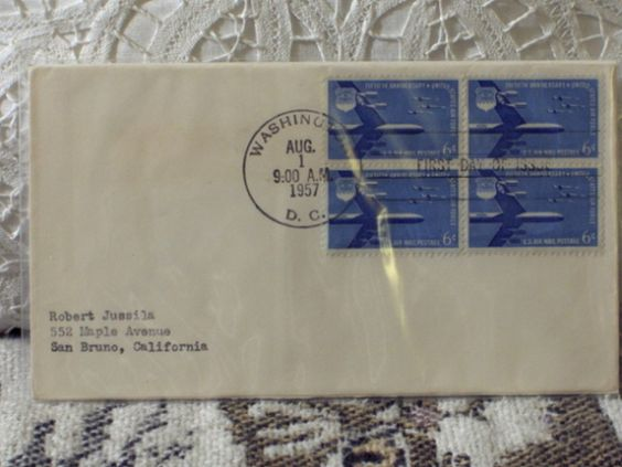 http://ajunkeeshoppe.blogspot.com/  First Day Issue/Cover-Stamp-50th Ann. US Air Force 1957 8ozP724B4HP1140
