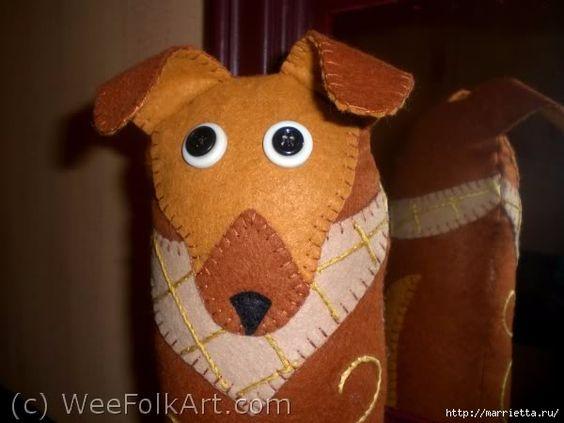 DIY Door Stop // Sew dog of felt - backup for doors