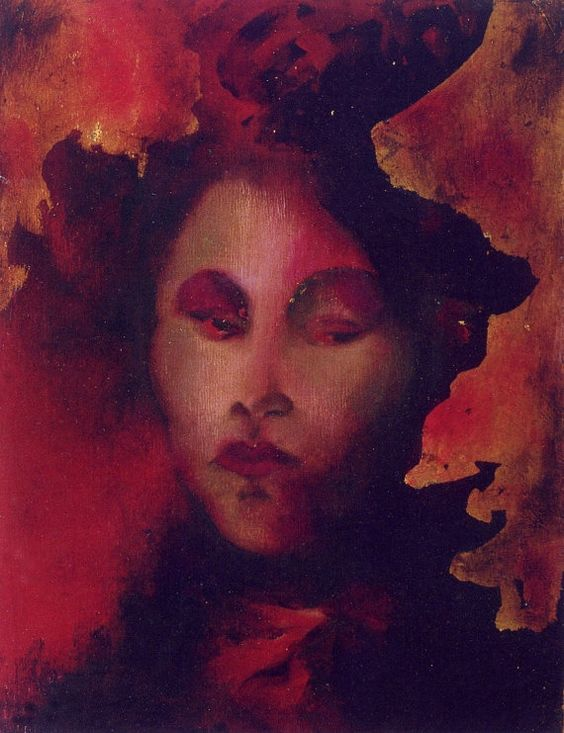 Pittura olio e foglia d'oro originale arte femminile rossa regalo