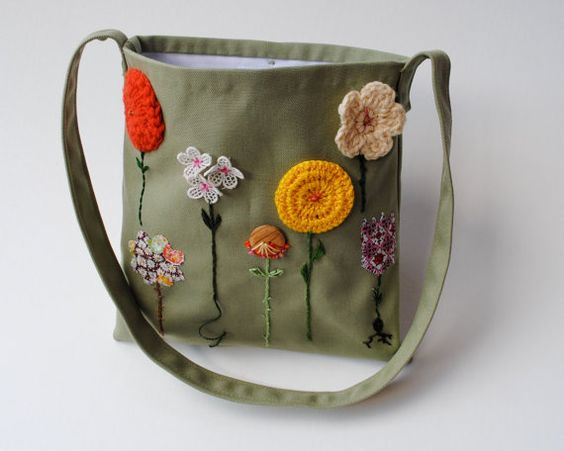 Organic Kids Messenger Bag - Embroidered Summer Garden Flowers Cross Body Purse in Olive Green with Gold