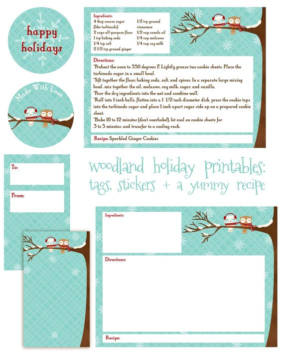 FREE Christmas Printable Tags, cards, notes, stickers, recipe For