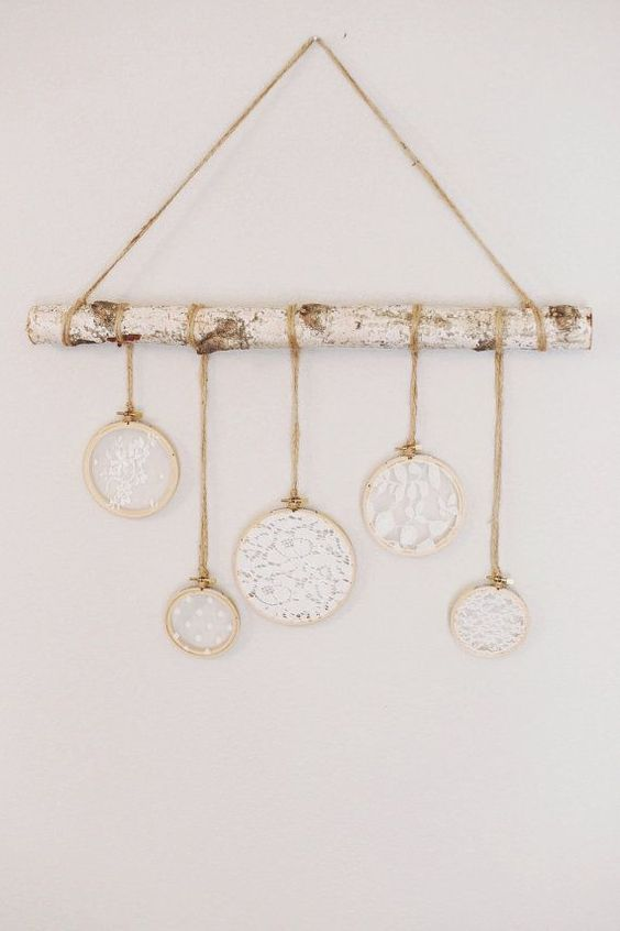 wall hanging lace and birch lace baby decor by TheGlitteredBarn
