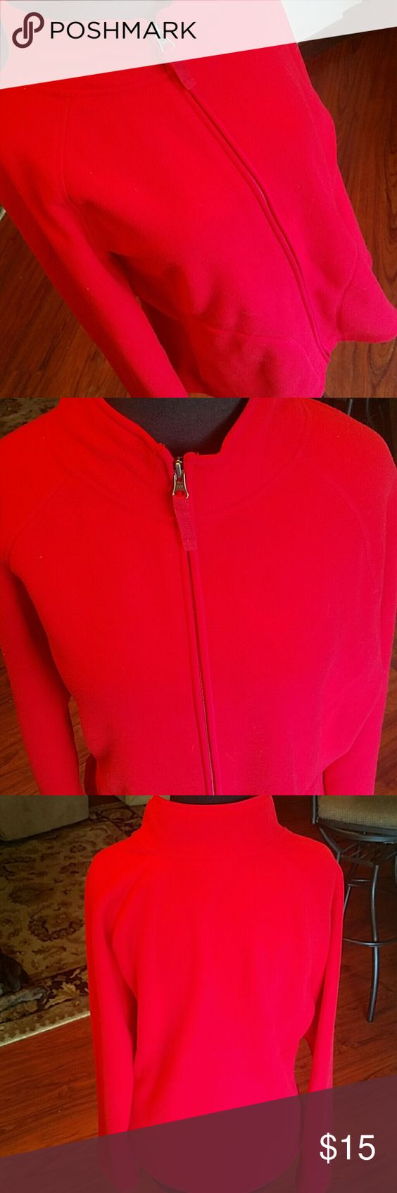 Red Zip Up Fleece Red fleece, great condition. Super soft and warm. Size Large. Merona Tops Sweatshirts & Hoodies