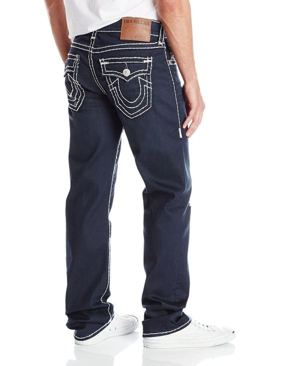 True Religion Mens Jeans Size 38 1/2 Ricky Super T in Pitch Dark ...