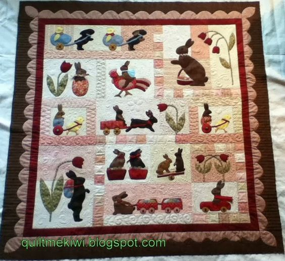 """""""Rabbits Prefer Chocolate"""" a Bunny Hill design, quilted by Leeanne at quiltmekiwi.blogs...."""