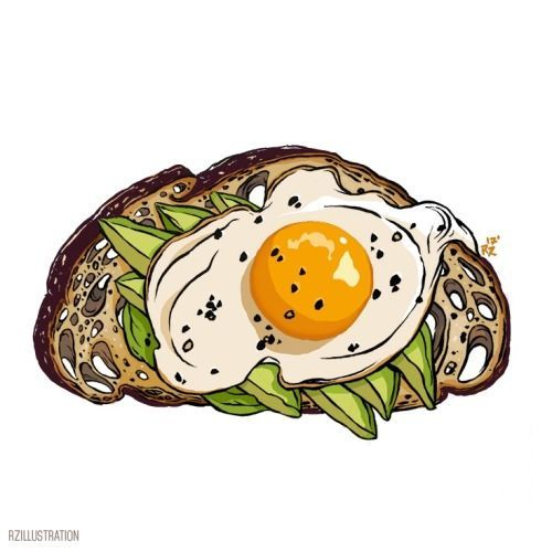 Image Result For Avocado Toast Cartoon Illustration Art Drawing Drawings Illustrations And Posters