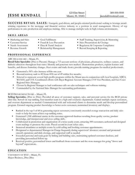 resume description for retail sales