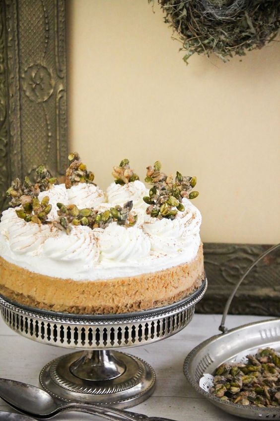 Sprinkle Bakes: Pumpkin Cheesecake with Sugared Pumpkin Seeds