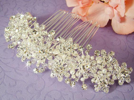Elegant Pearl and Swarovski Crystal Bridal Hair Comb