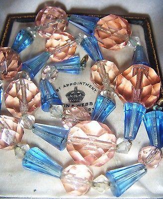 VINTAGE ART DECO Bi Colour Large Multi Faceted Crystal Beads Geometric Necklace