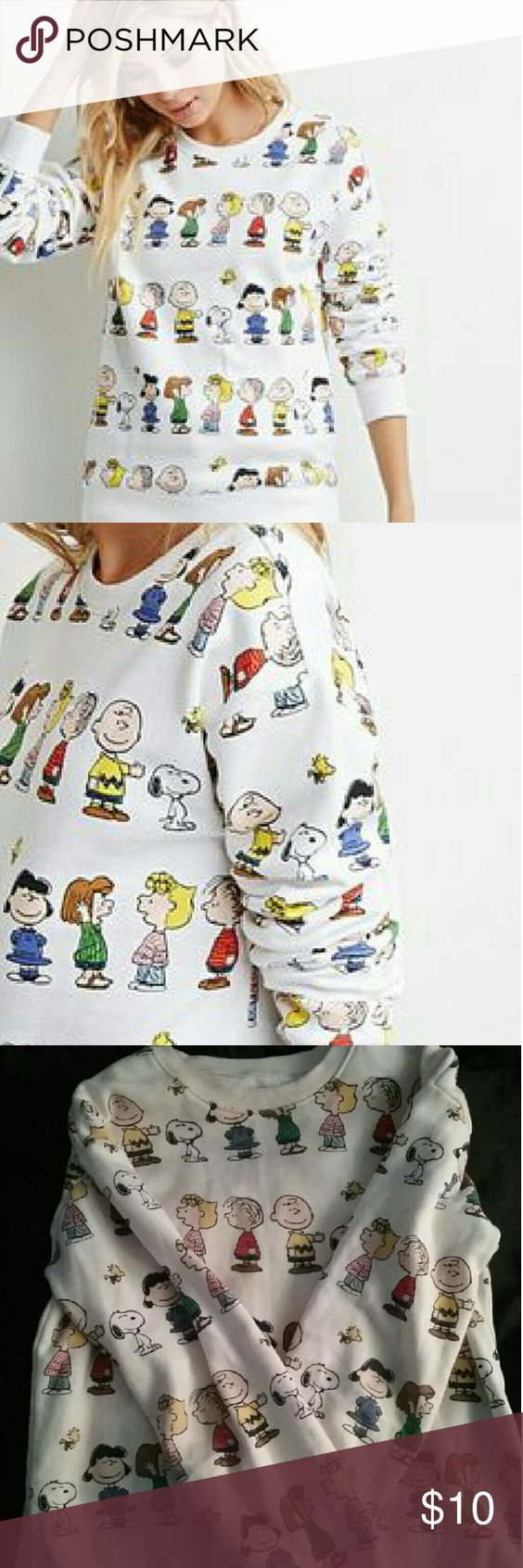 Forever 21 Charlie Brown sweatshirt Sweatshirt with all over Charlie Brown print from Forever 21 in a size medium. It's a little dingy on the collar but still a cute sweatshirt. Doesn't really fit anymore. Forever 21 Tops Sweatshirts & Hoodies