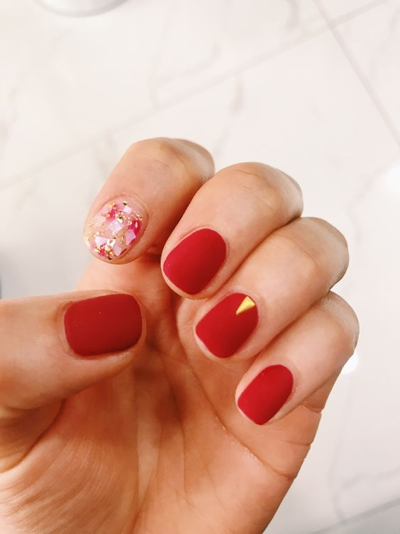 Red Matte Nails Chinese New Year nail designs