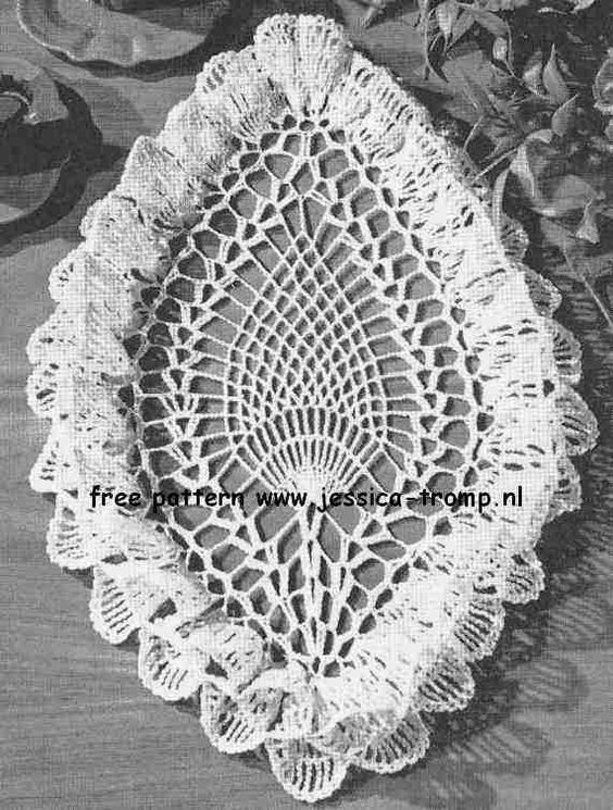 Free Crochet Patterns For Table Doilies : Oval Pineapple Ruffled doily free vintage crochet doilies ...