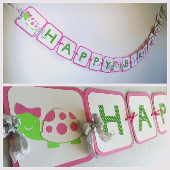 Turtle Birthday Banner Pink And Green Turtle Party Banner