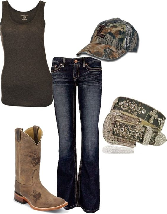 """Camo Girl"" by lshahan on Polyvore. I love the boots, hat, n belt!!!!  Love it all!"