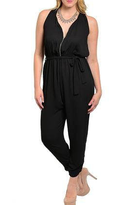 DHSTYLES: DHStyles Women's Black Plus Size Sexy Sleeveless Chiffon Romper With Rope Belt - 1X Buy Now $19.75 Find at Faearch