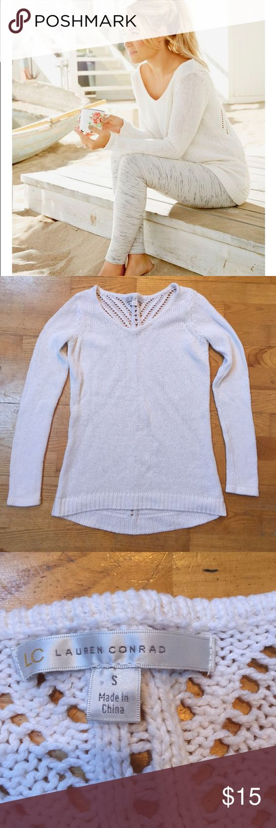 LC Lauren Conrad white sweater Actual sweater as pictured; excellent condition, detailed back LC Lauren Conrad Sweaters V-Necks