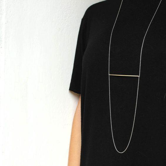 Minimalist necklace sterling silver long geometric door AMEjewels