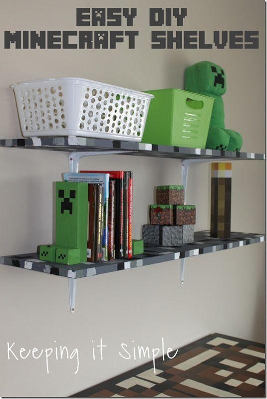 Minecraft Boys Bedroom Ideas- Easy DIY Minecraft Shelves