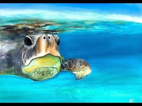 Underwater Sea Turtle In Watercolors Painting Tutorial Youtube