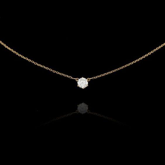 gold single diamond pendant - Google Search