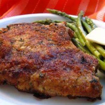 Italian Breaded Pork Chops; soo good! Especially with that garlic pasta as a side!