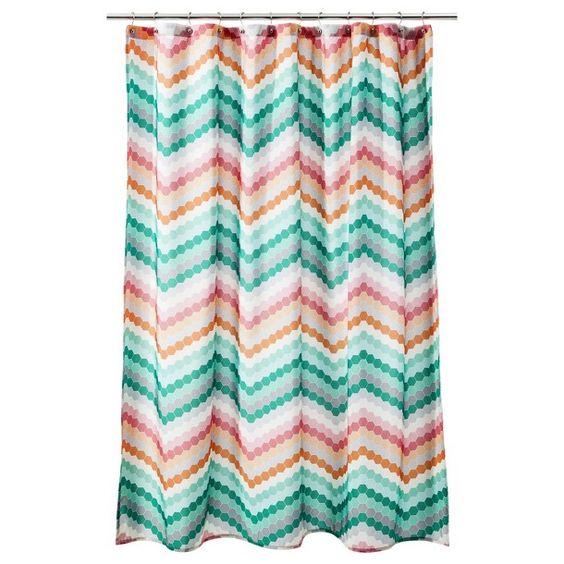 Curtains Ideas coral chevron shower curtain : Room Essentials® Chevron Shower Curtain - Pink/Green | Need to do ...