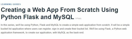 Creating a Web App From Scratch Using Python Flask and MySQL - Tuts+ Code Tutorials
