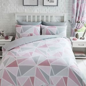 Metro Geometric Triangle Pink Grey Duvet Cover Set Single Double King Curtains Gray Duvet Cover Pink Bedroom Decor Pink Bed Sheets